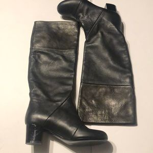 Lanvin 2010 Hiver Tall Black Leather Heeled Boots